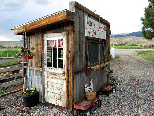 Seasonal roadside produce stand