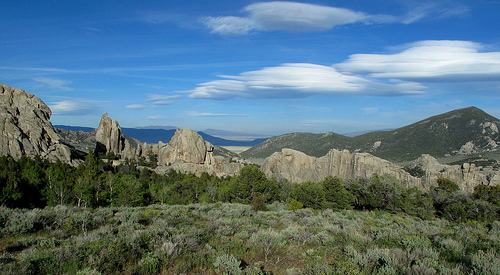 Sage, pinon pine, granite, & clouds